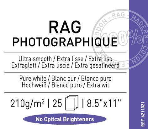 """Rag Photographique 210 gsm - 8.5"""" x 11"""""""