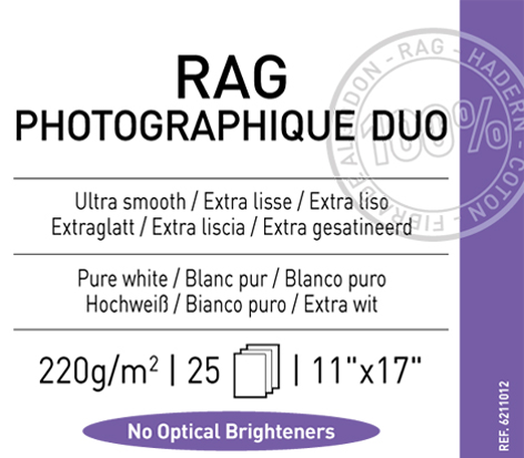 "Rag  Photographique Duo  220 gsm - 11"" x 17"""