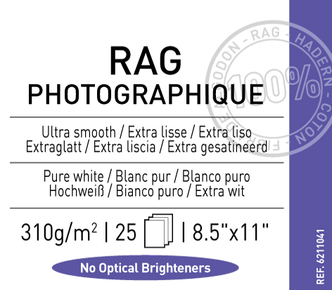 "Rag Photographique 310 gsm - 8.5"" x 11"""