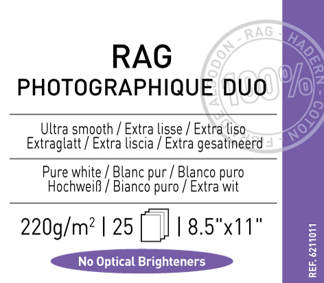 "Rag  Photographique Duo  220 gsm - 8.5"" x 11"""