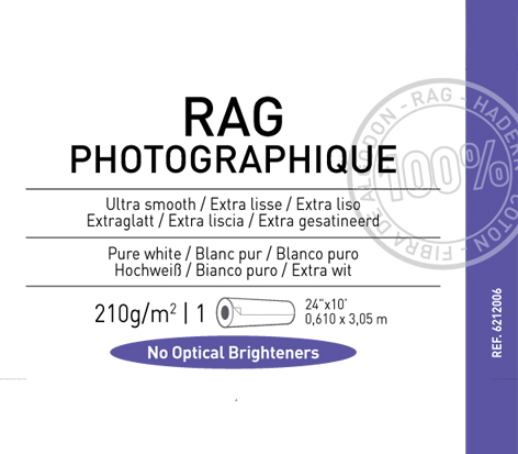 "Rag Photographique 210 gsm - 24"" x 10'"