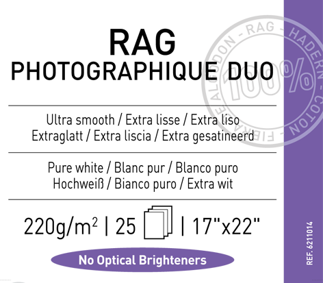"Rag  Photographique Duo  220 gsm - 17"" x 22"""