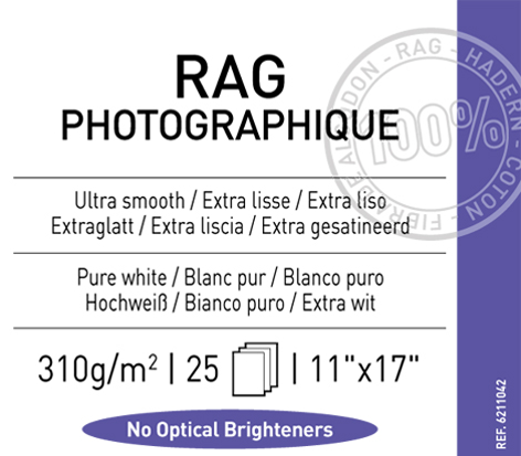 "Rag Photographique 310 gsm - 11"" x 17"""