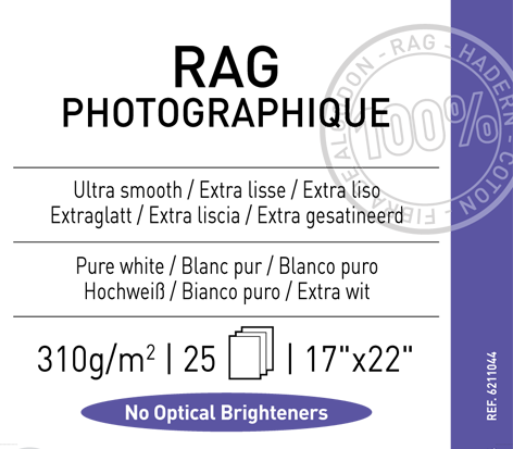 "Rag Photographique 310 gsm - 17"" x 22"""